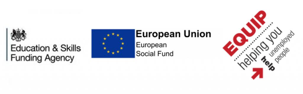 logos for ESFA, EU and Equip