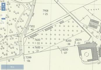 Map of Claybury Orchard dated 1944-69